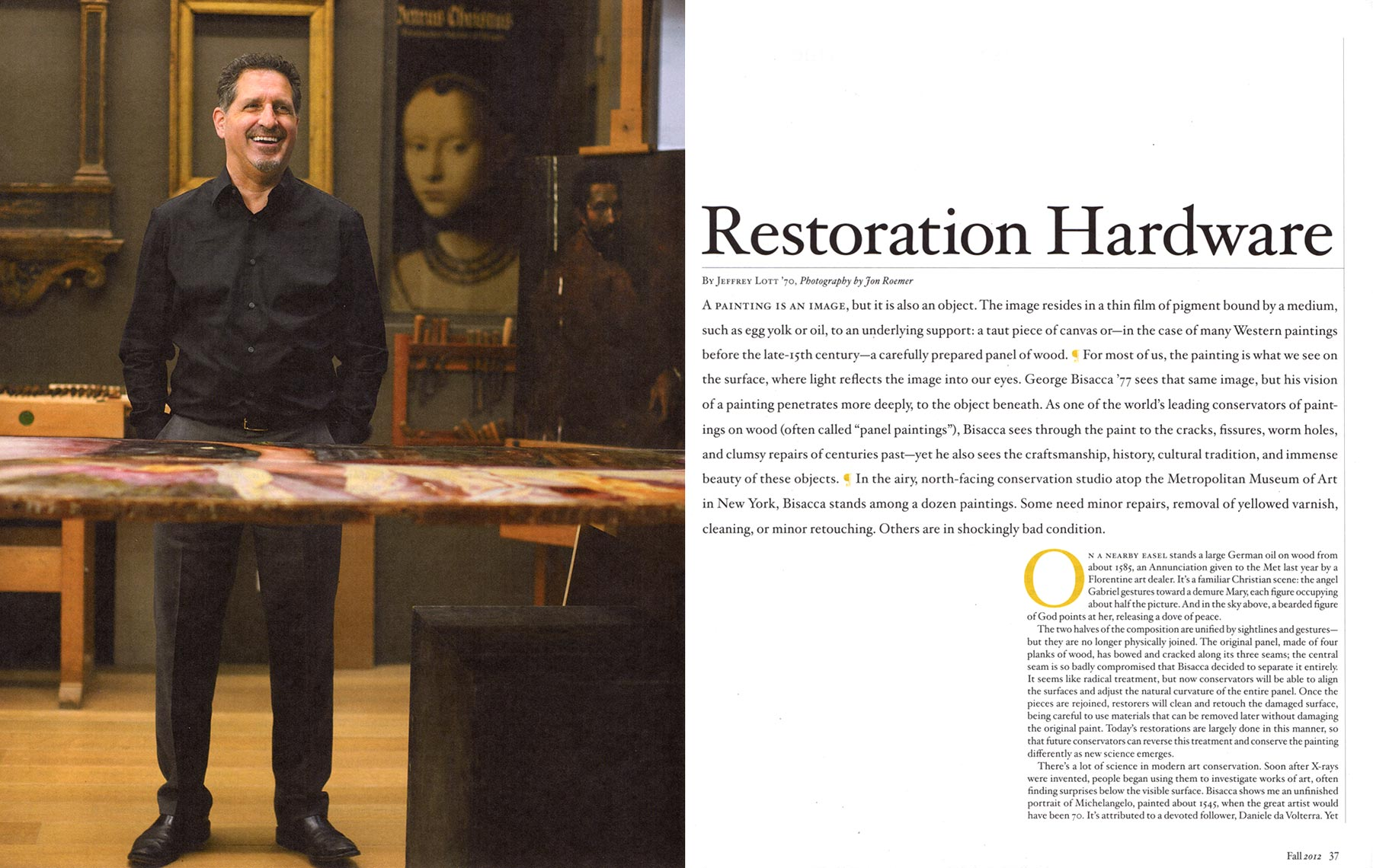 Middlebury Magazine - George Bisacca, Conservator - Opening