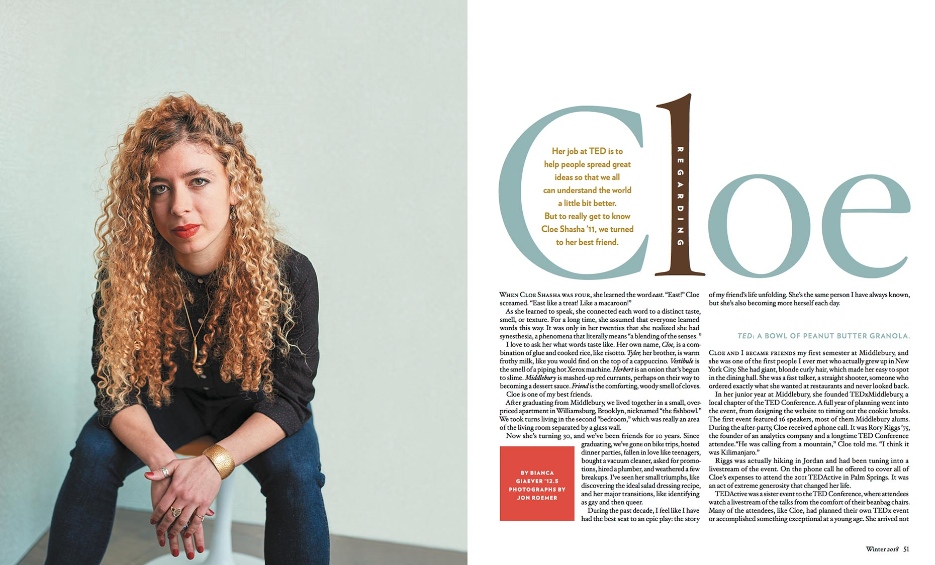 Cloe Shasha - TED Executive - Middlebury Magazine