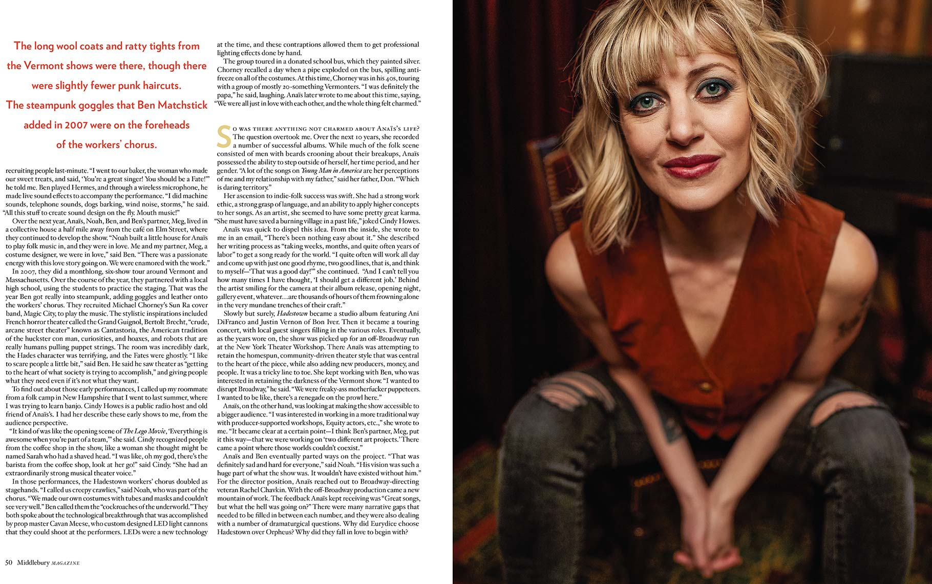 Anaïs Mitchell Cover Story -  Inside Portrait - Spring 2019, Middlebury Magazine