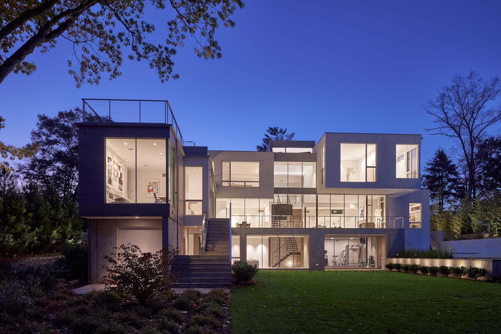 Modern Lake House - Twilight - Rear Elevation