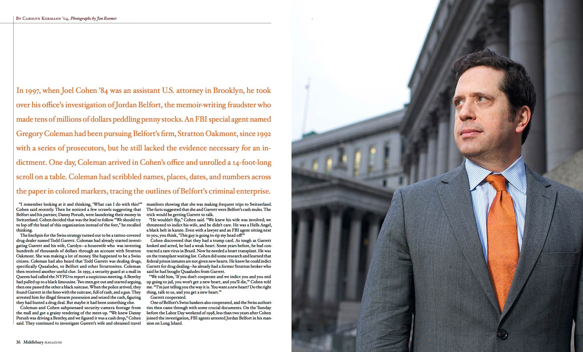 Joel Cohen - Former  Assistant US Attorney - Middlebury Magazine