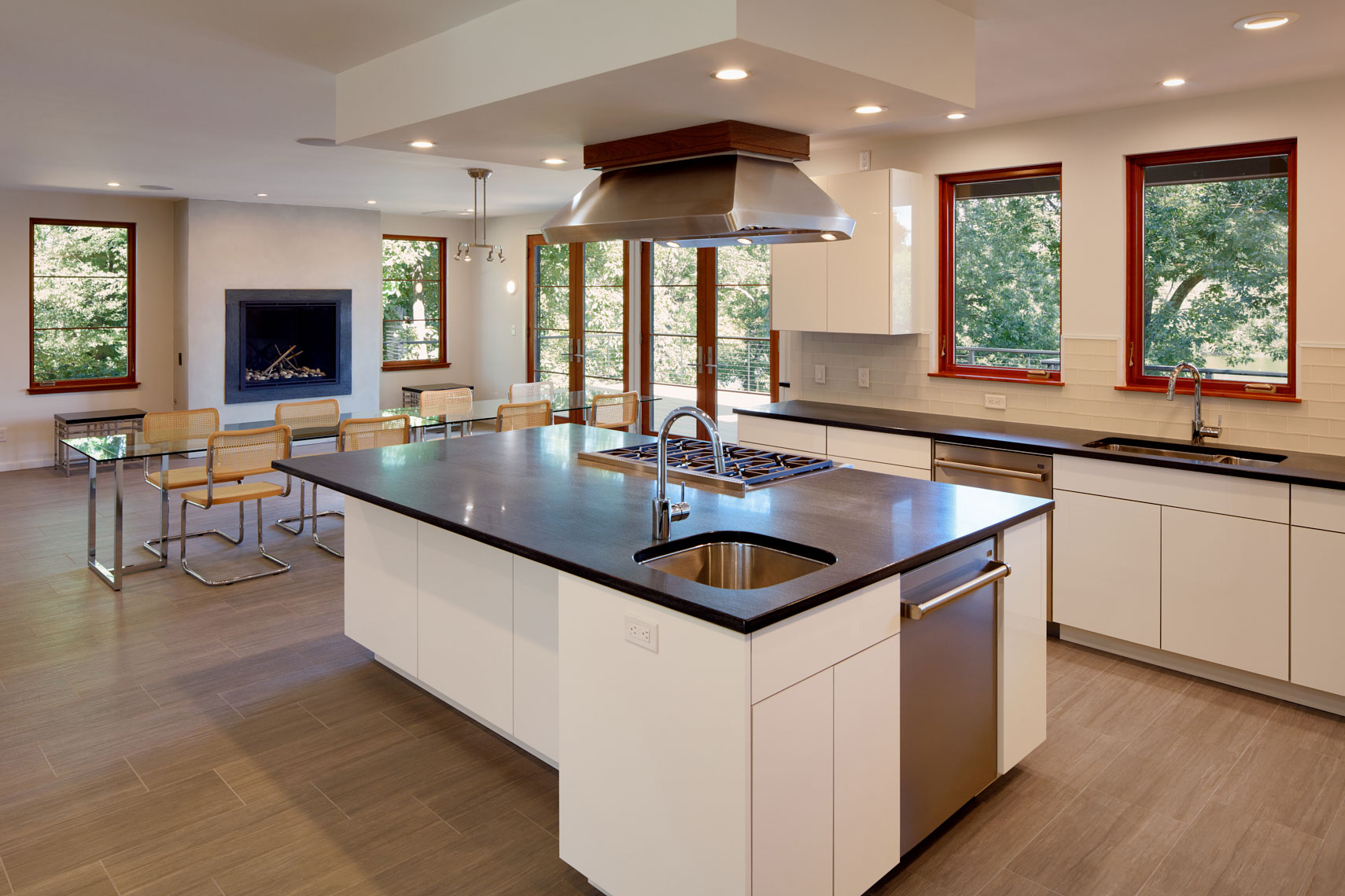Lake House - Princeton, NJ - Kitchen with Island - Abby Schwartz Associates